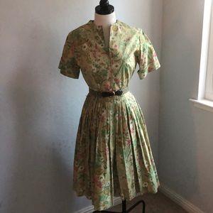 Vintage Glam 1950's Style Floral Belt House Dress